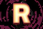 The letter R as a wired alphabet light board against concentric circles of a halftone pattern.