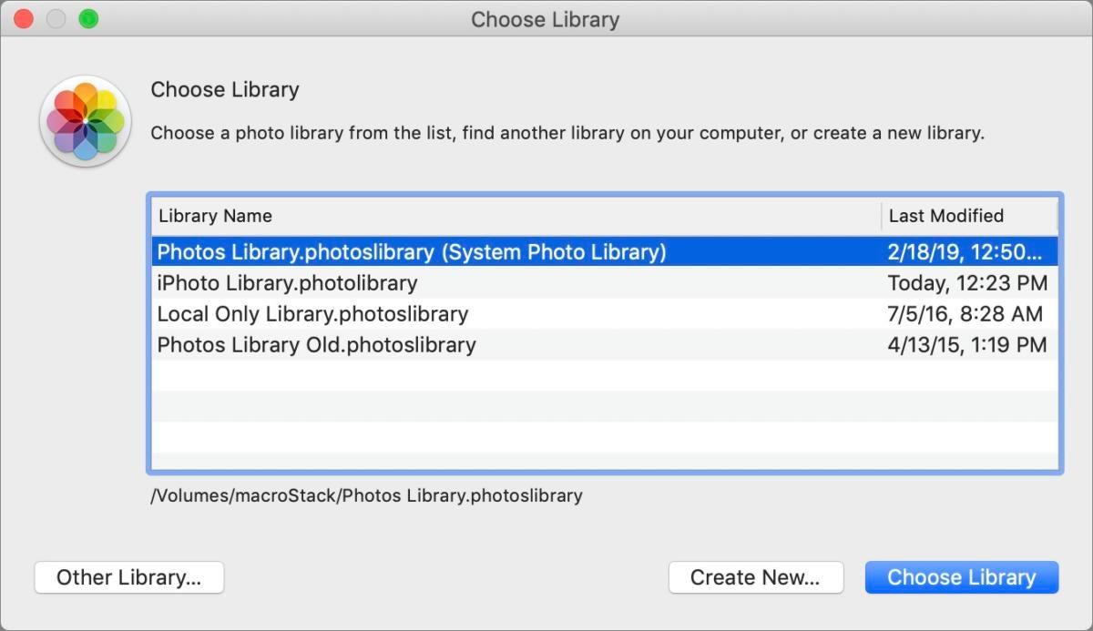 mac911 choose photos library open
