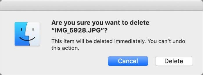 mac911 delete immediately within trash