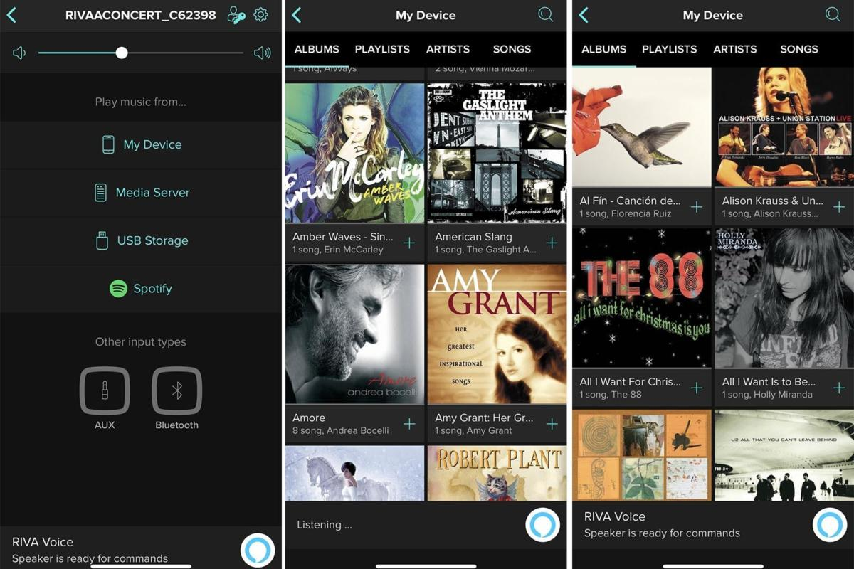 Via the Riva Voice app you can choose the Concert's various source inputs and browse music on your s