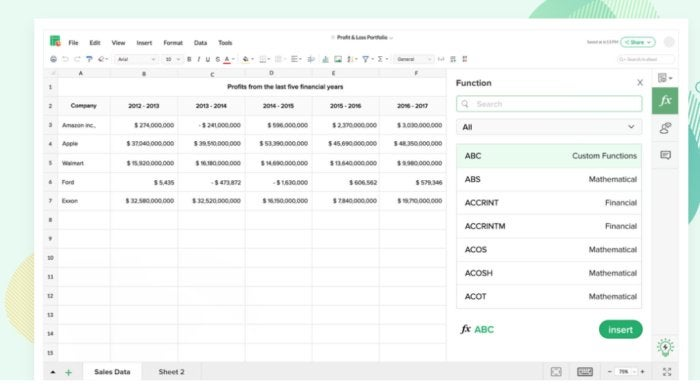 Zoho sheet new look