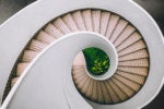 Aerial view of circular stairs [movement/progress/descent/exit]