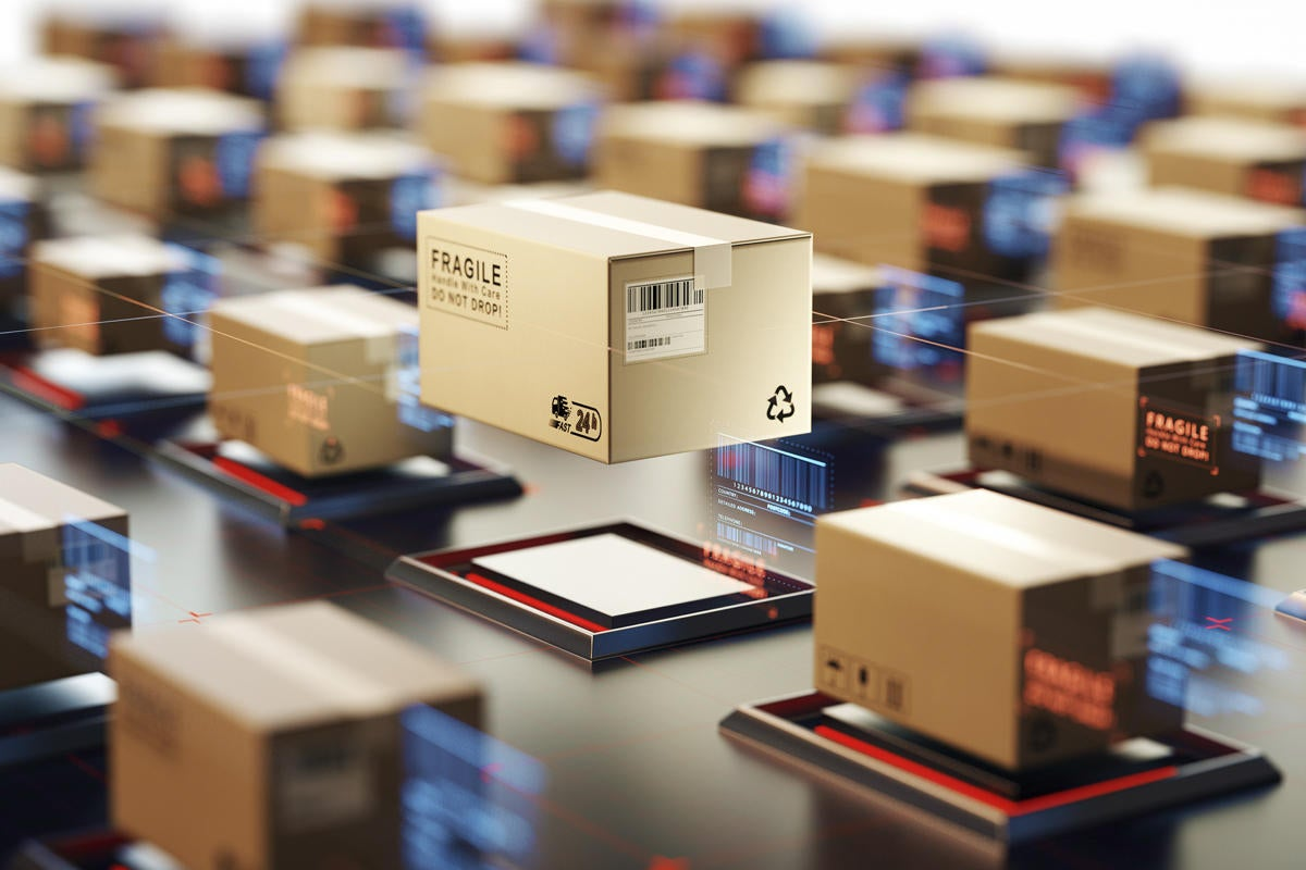 supply chain blockchain packages fullfillment center boxes automation by undefined getty