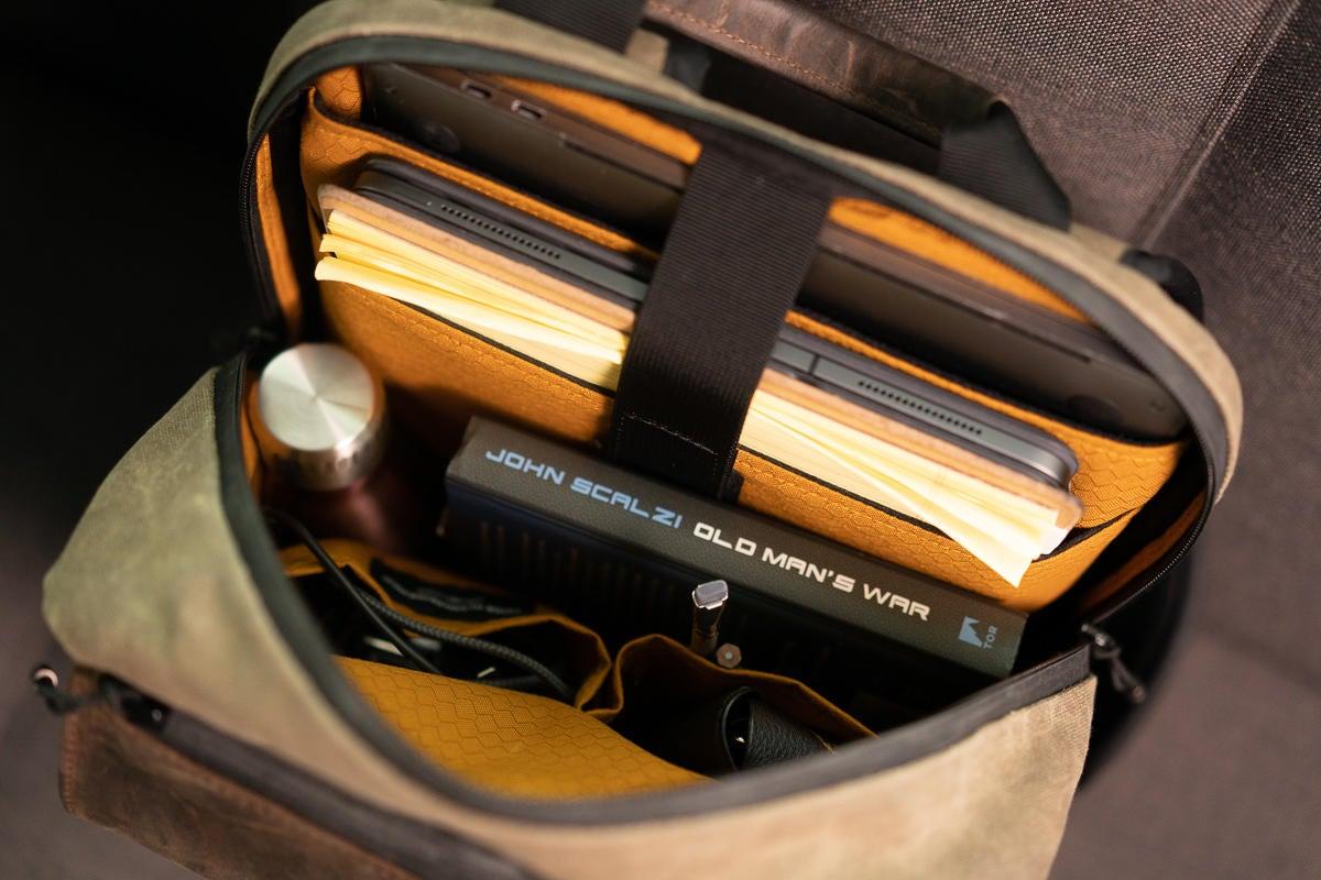 sutter slim backpack inside