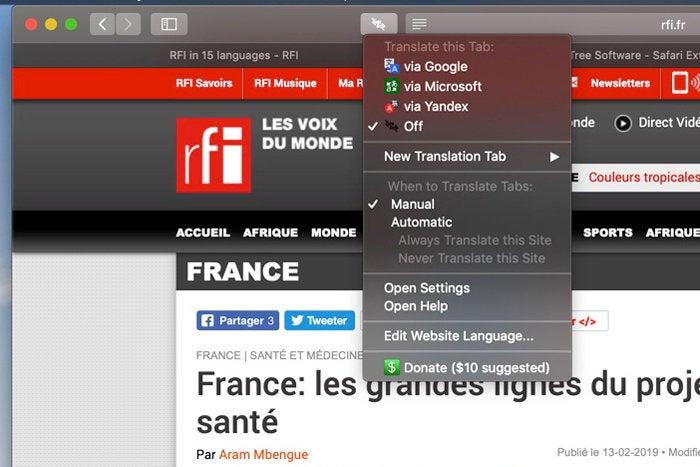 translate safari extension mac