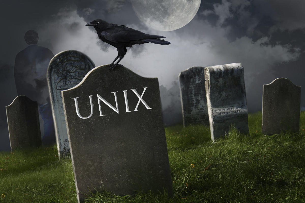 unix slow death headstone rip cemetery