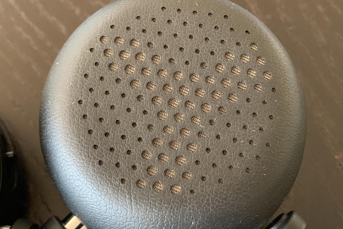 Detail of the memory-foam ear cup.