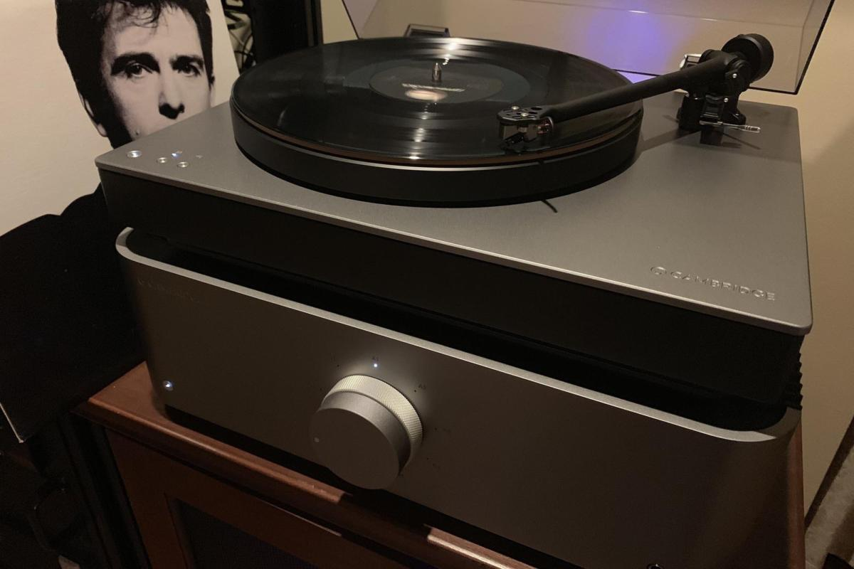 The Alva TT with Cambridge Audio's Edge A integrated amplifier playing Peter Gabriel's classic album