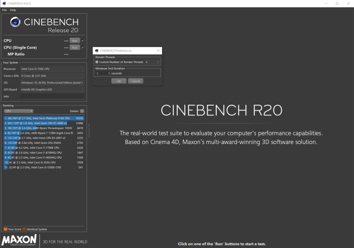 cinebench options