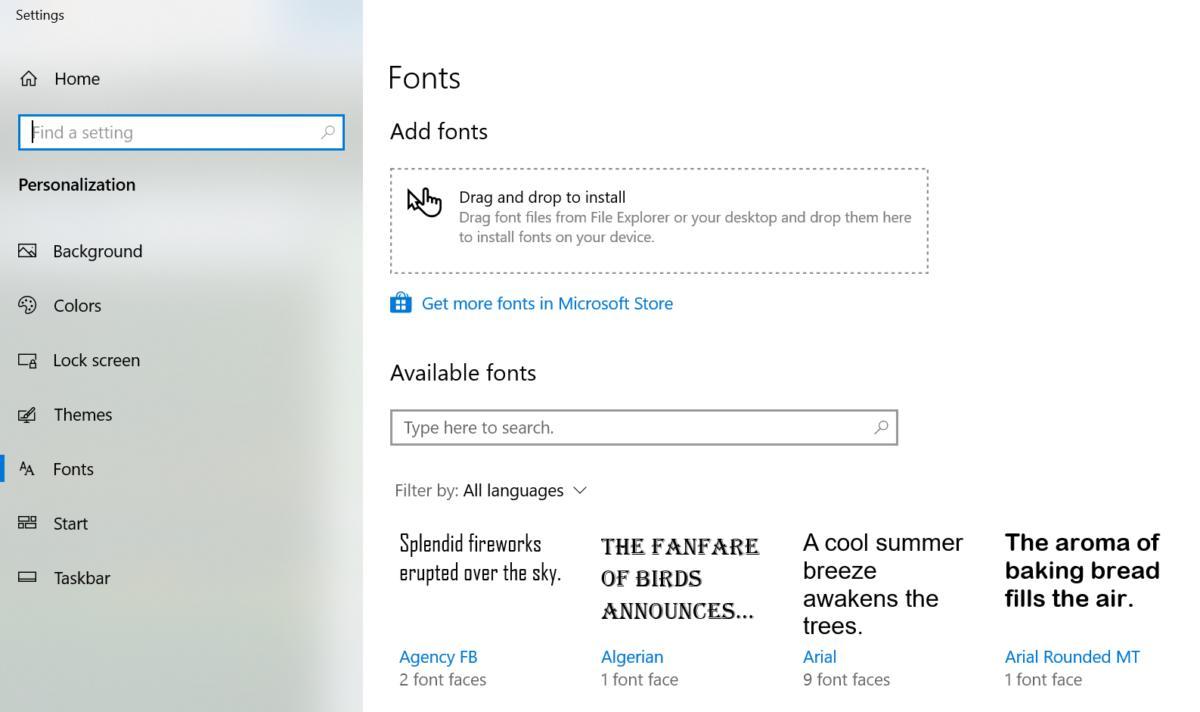 Microsoft Windows 10 April 2019 Update fonts