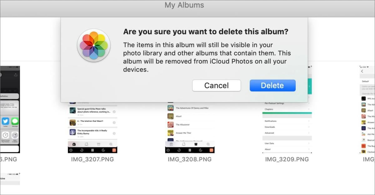 mac911 delete album not photos warning