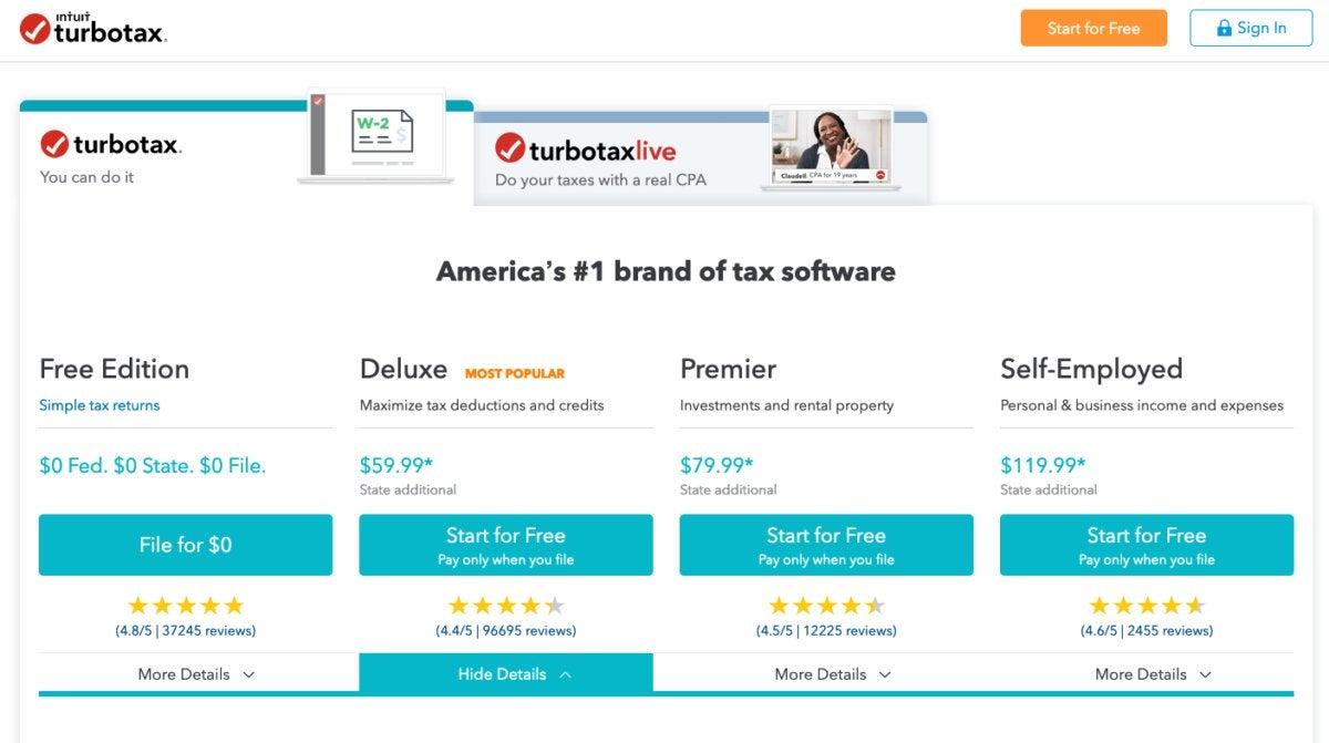 TurboTax pricing 2019