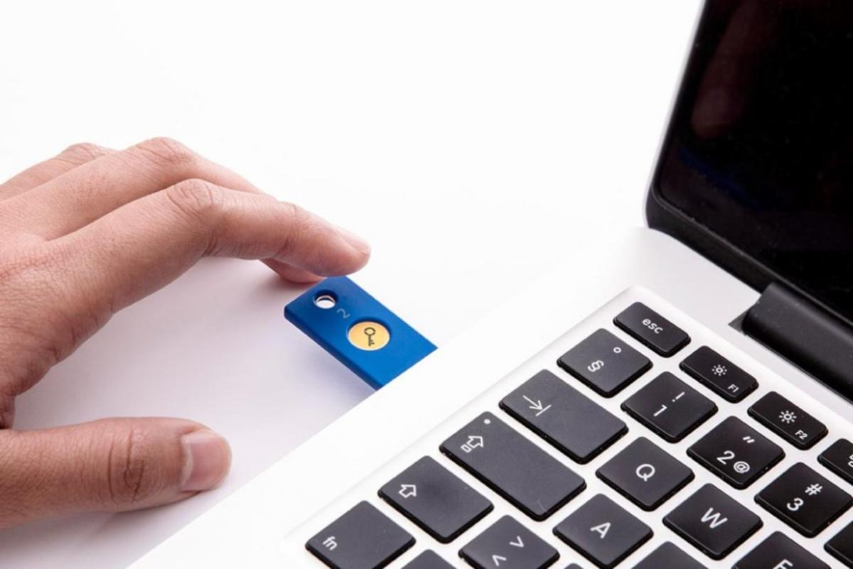 security key by yubico with finger touch resized