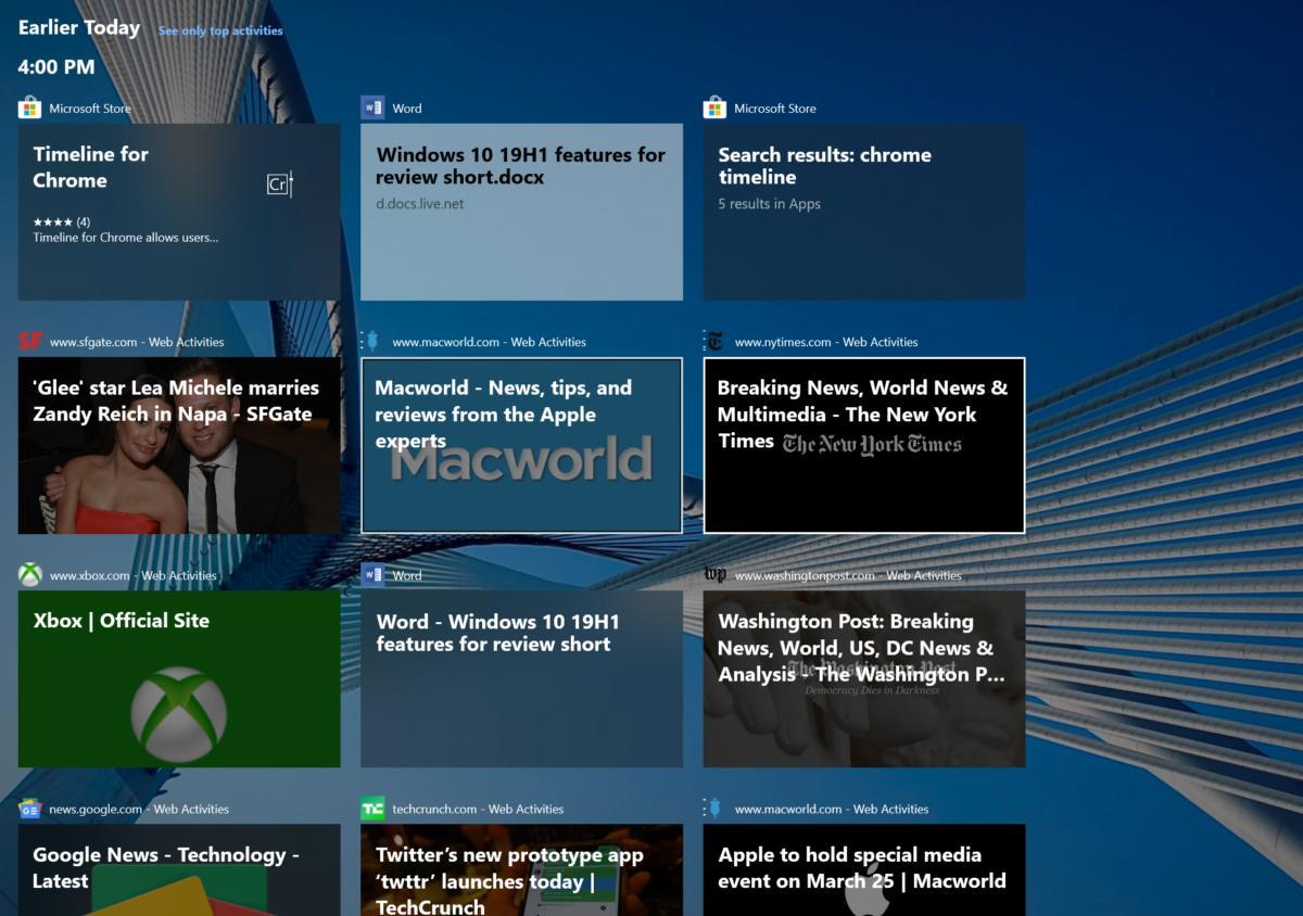 Microsoft Windows 10 April 2019 Update timeline for chrome screen