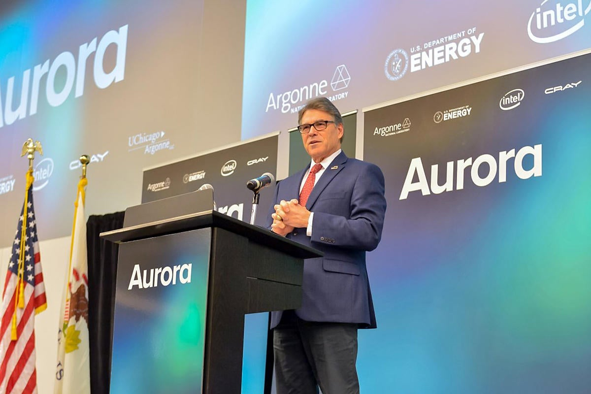 Secretary Rick Perry announces the Department of Energy will build new exascale supercomputer Aurora