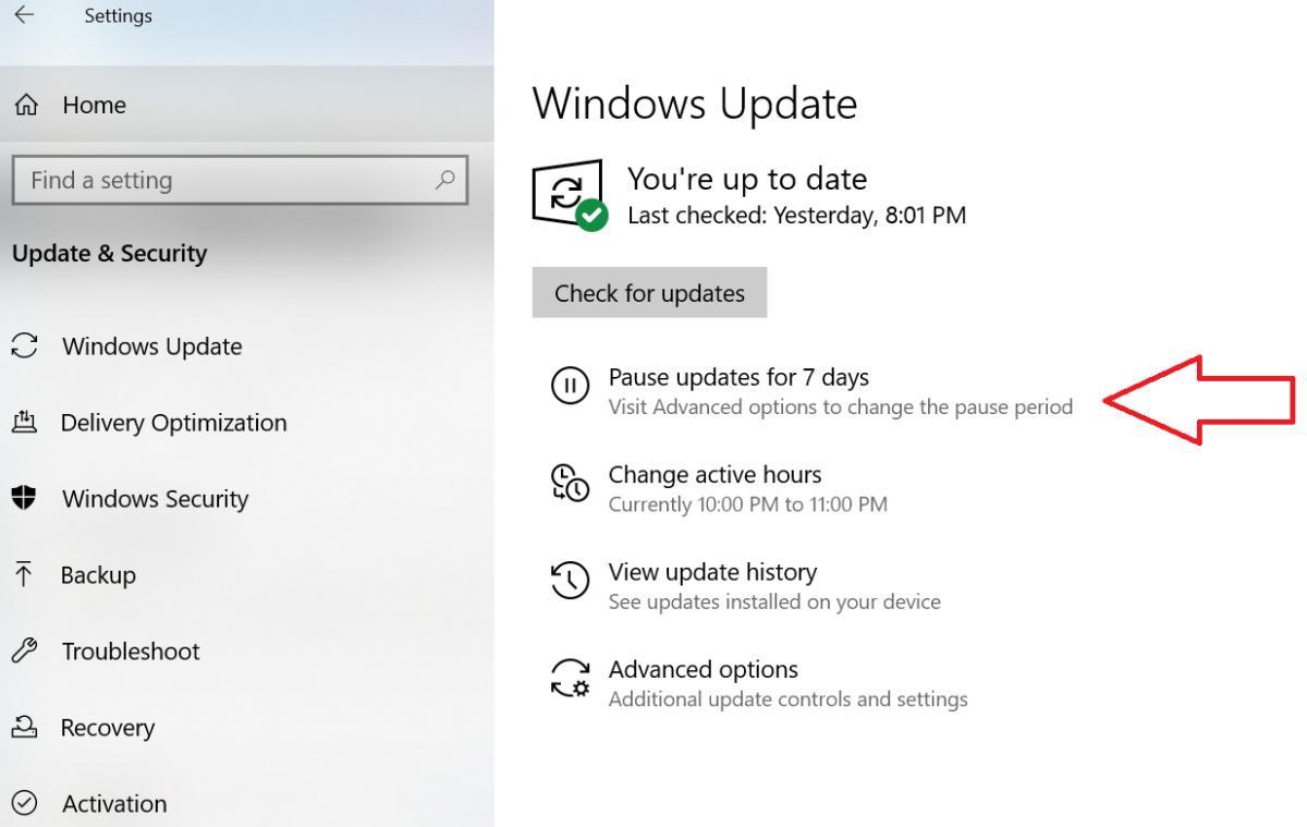 Microsoft Windows 10 April 2019 Update windows update settings pause menu