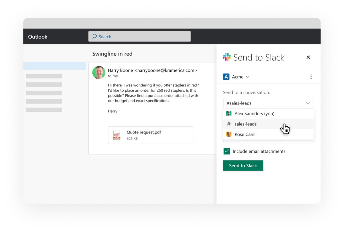 Slack adds email, calendar and file integrations for Office 365