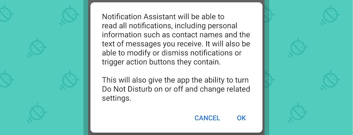 Android Notification Assistant Warning