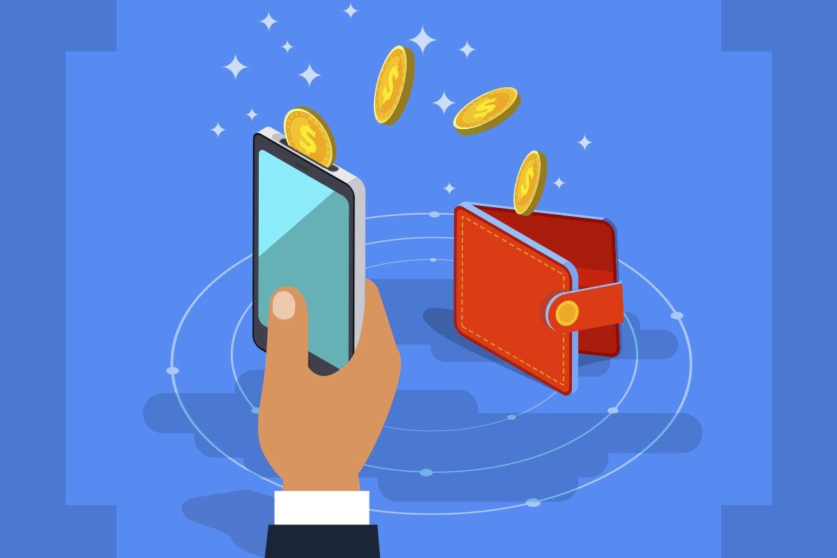 crypto currency hand holding phone iwth bitcoin digital wallet bitcoin blockchain