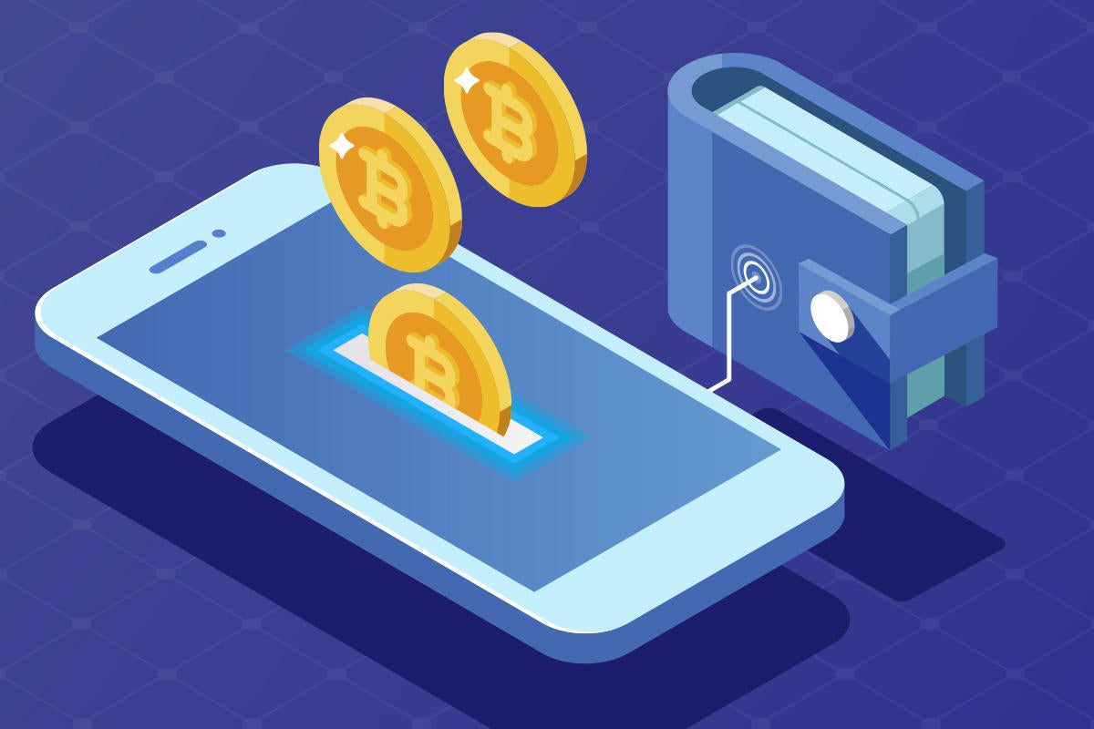 crypto currency smartphone digital wallet bitcoin blockchain