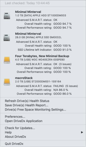 drivedx dropdown menubar