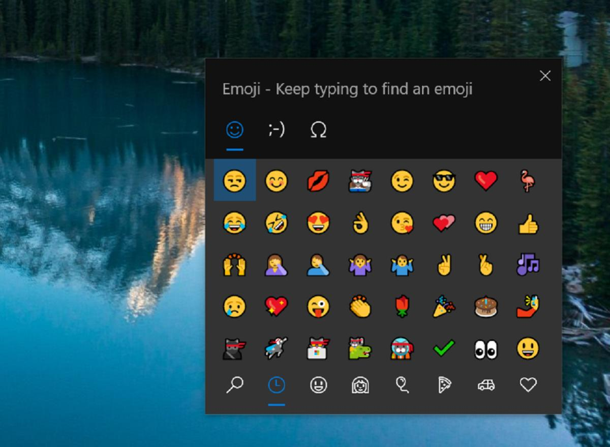 Microsoft Windows 10 emoji keyboard 1