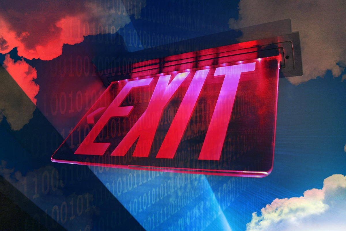 exit sign expatriation cloud binary leaving the cloud