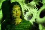 gears automation robotics ai machine learning woman with binary code