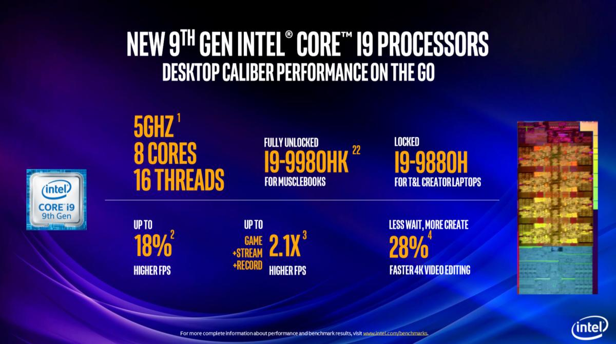 Intel's 9th-gen mobile Core chips aim for the high end, rocking 8