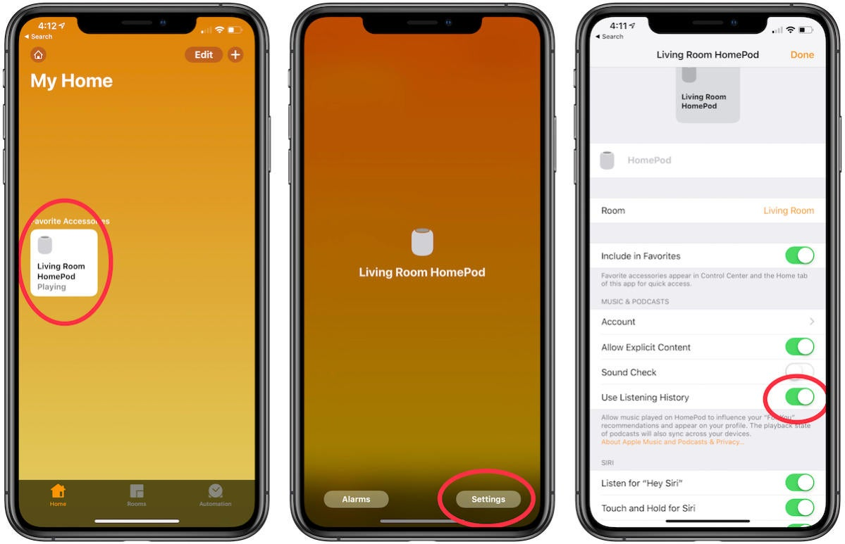 homepod disable listening history