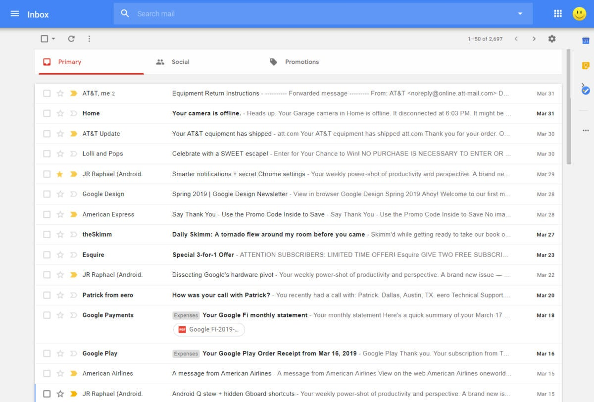 Inbox Interface Gmail - message list