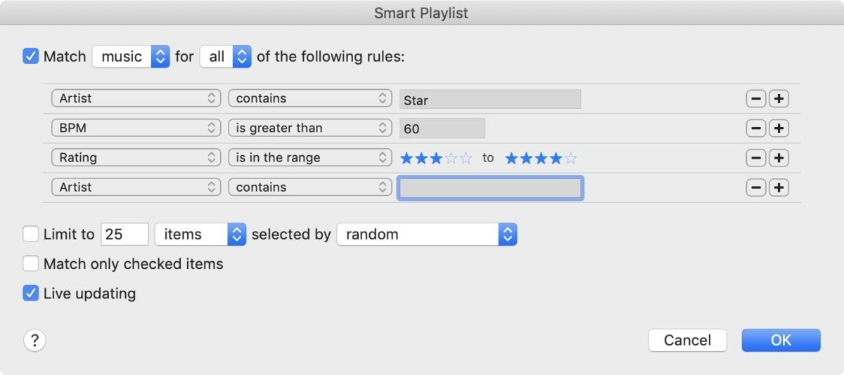 itunes 12 smart playlist criteria