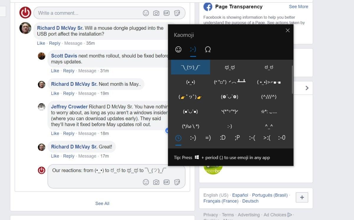 Microsoft Windows 10 kaomoji primary better