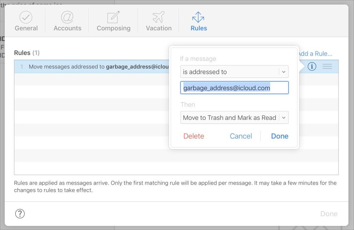 mac911 icloud mail rules trash