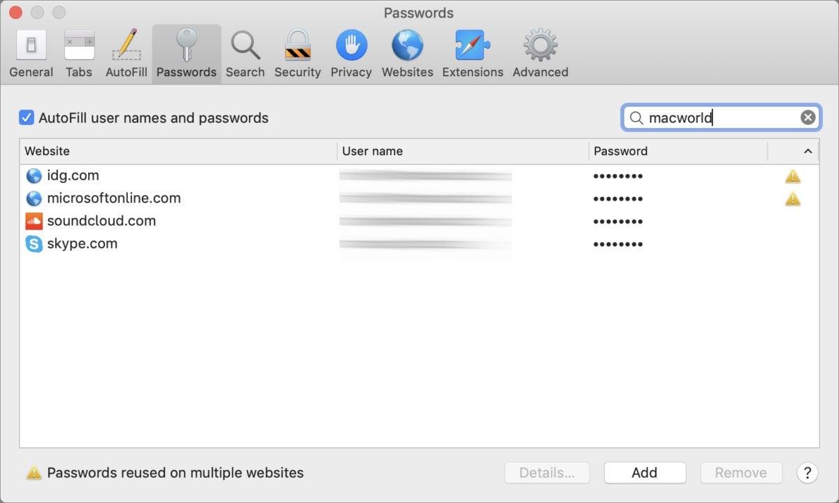 mac911 remove passwords safari macos