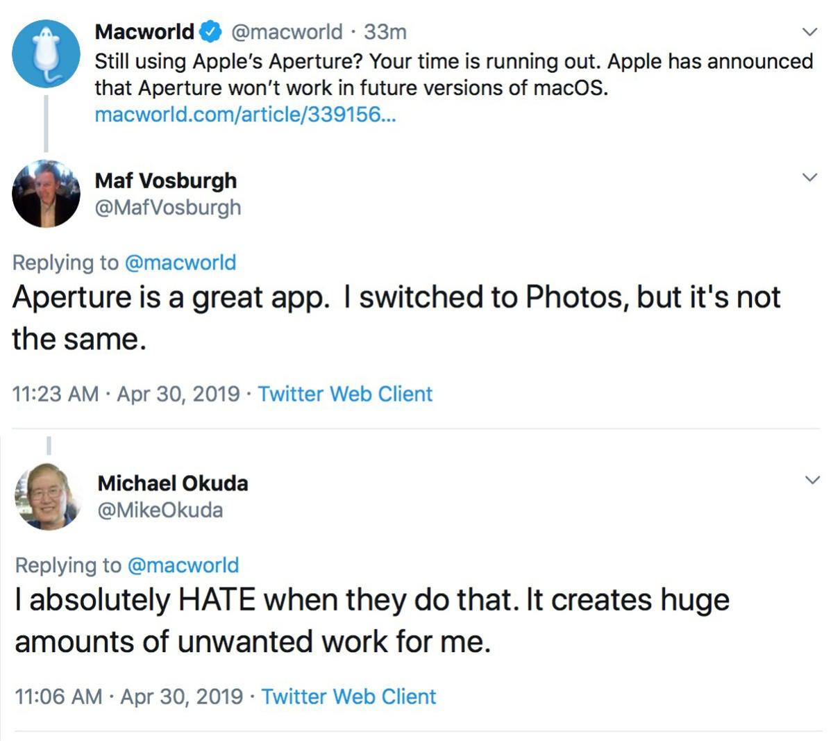 macworld podcast aperture response