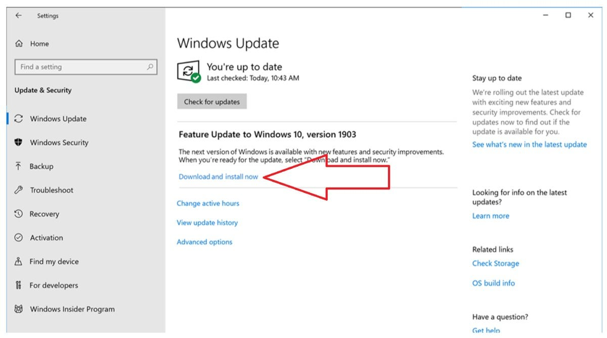 new windows update rollout arrow