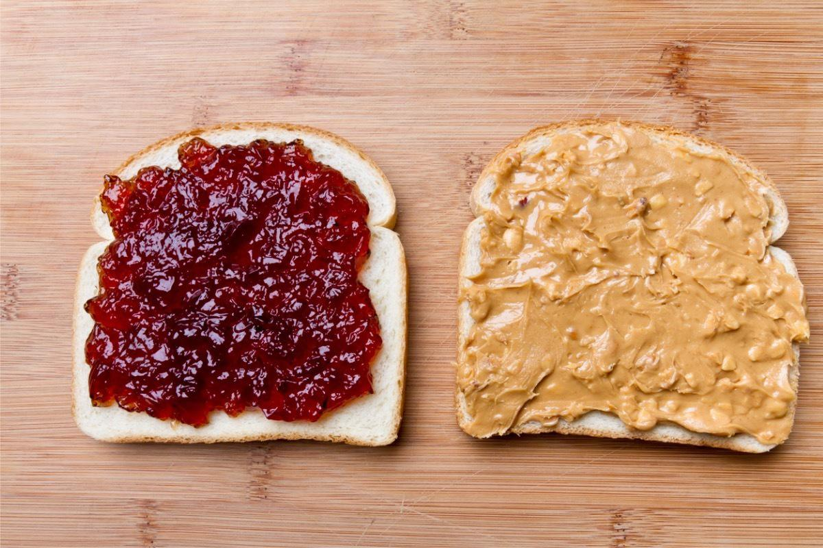open face peanut butter and jelly sandwich picture id168447993