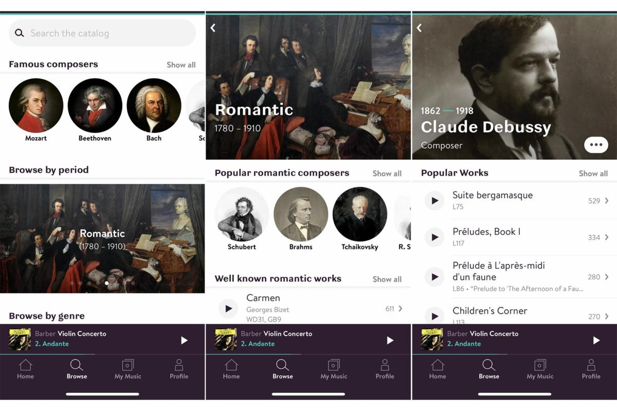 Primephonic is designed to let classical music lovers browse by period.