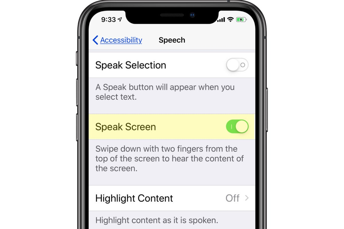 speak screen ios setting on