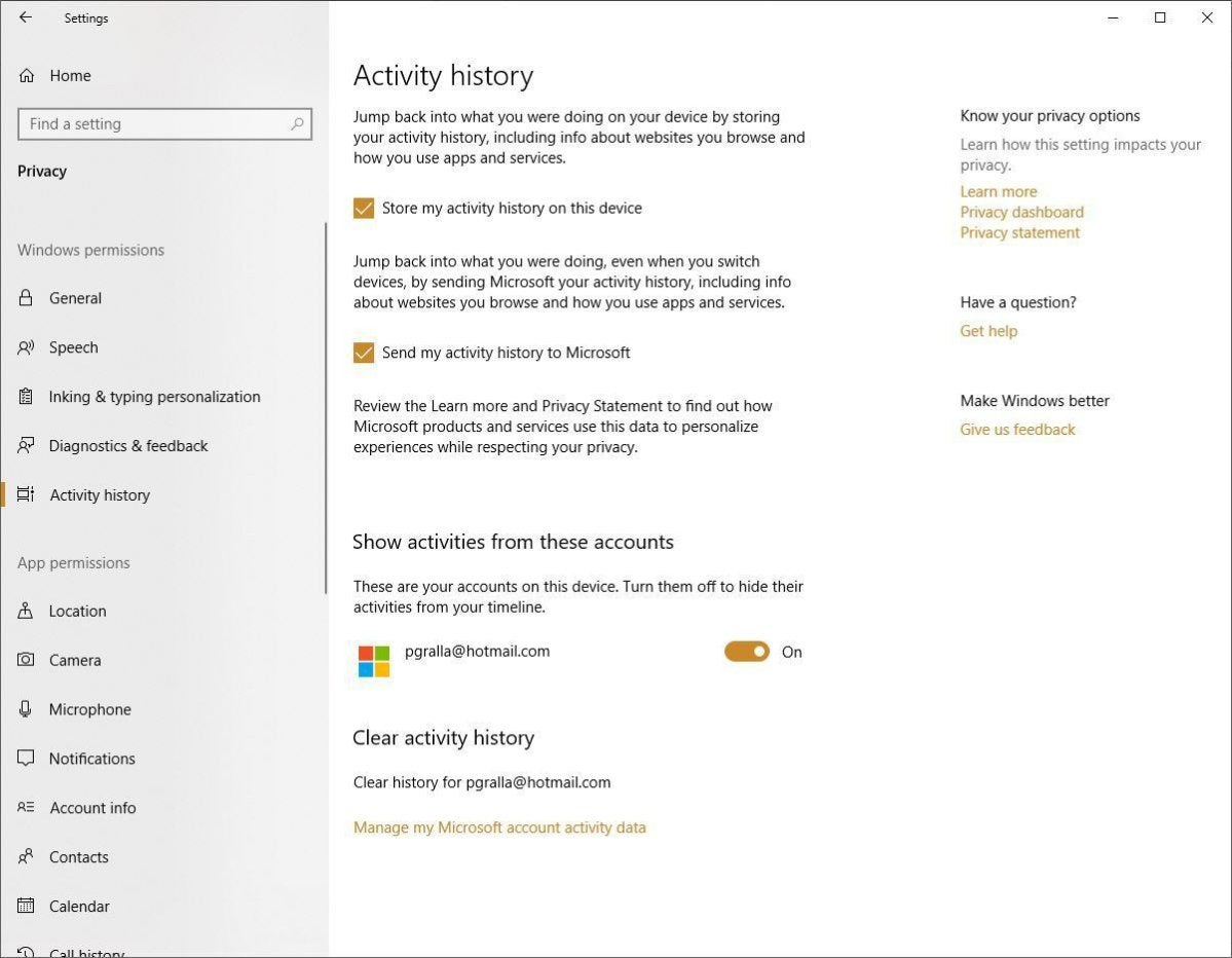 win10 privacy activity history