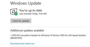 New Win10 1903 'Download and install now' — for cumulative updates