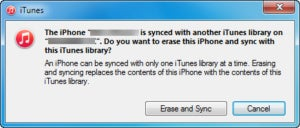 3 itunes sync warning message
