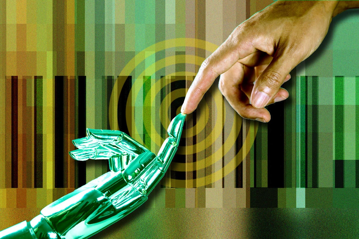 ai vendor relationship management bar code artificial intelligence hand on virtual screen