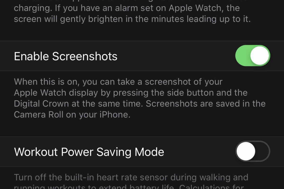 apple watch enable screenshots