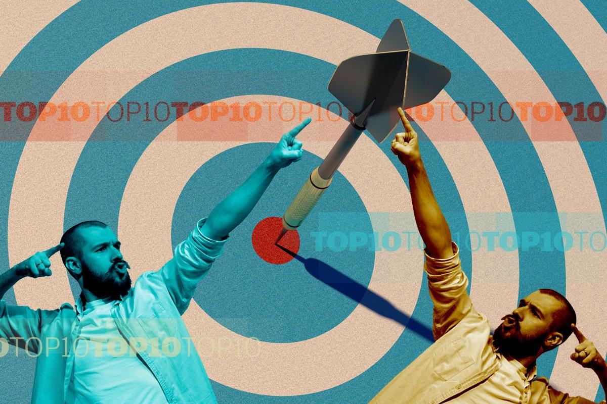 bullseye target dart man pointing best winner top