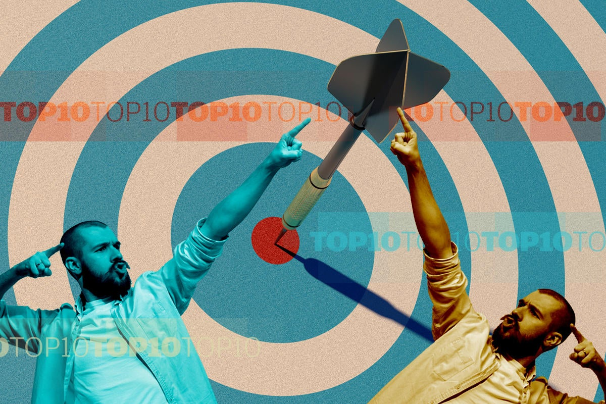 bullseye target dart man pointing best winner top