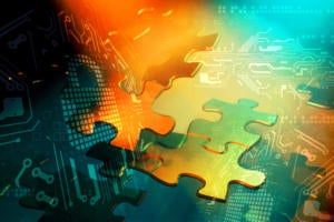CSO  >  secure mergers + acquisitions / floating puzzles pieces / abstract security mechanisms