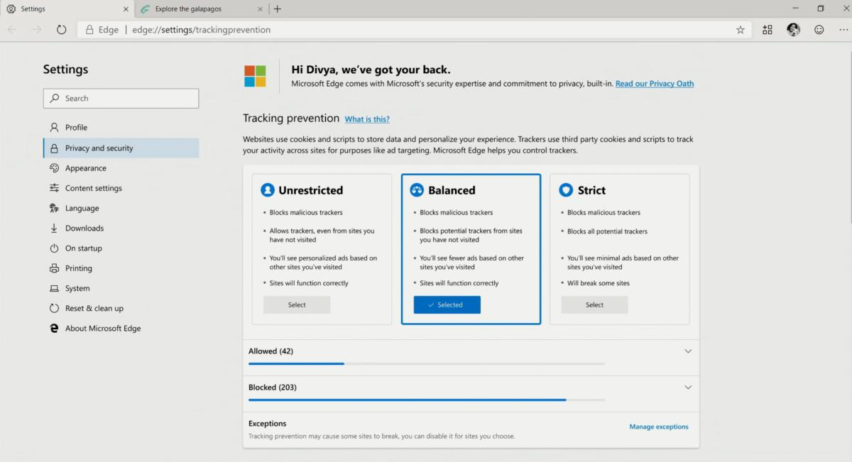 Microsoft edge privacy