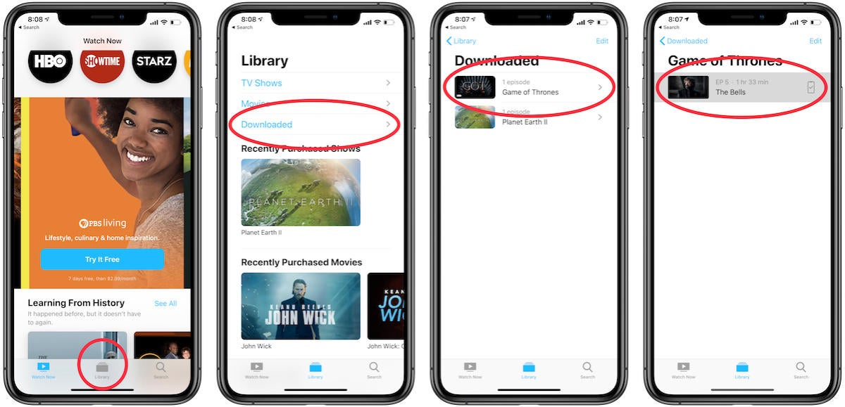 how to play downloaded shows on apple tv app